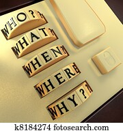 Five Ws: Who? What? Where? When? Why? Answer this question in order to unlock the suitcase