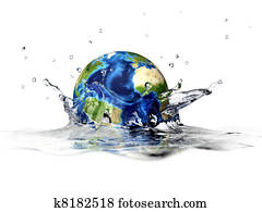 Planet Earth, falling into clear water, forming a crown splash. With depth of field. 3 D digital rendering on white background.