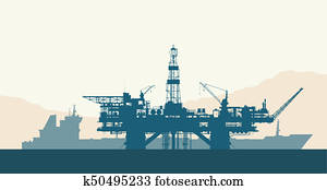 Sea oil drilling rig and tanker