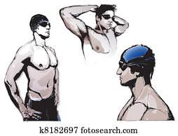swimming trio
