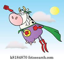 White Super Hero Cow Flying