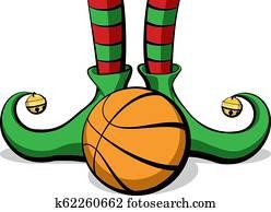 Basketball Christmas Elf Feet