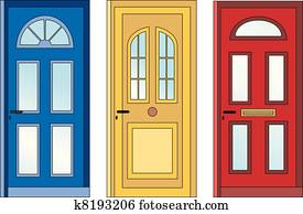 rotes gelb, blau, türen