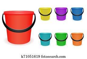 Set multi-colored household plastic buckets