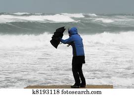 Strong Wind and Rain on Beach