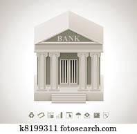 vektor, bank, symbol
