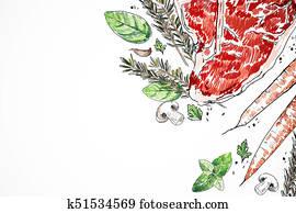 Tasty meat steak white background