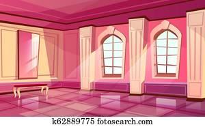 cartoon castle palace ballroom background