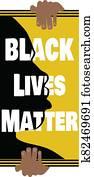 Illustration of Hands Holding Black Lives Matter Banner