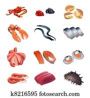 kalorie, tisch, fische, und, meeresfrüchte