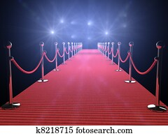 red carpet with flash lights in the background