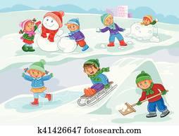 vektor, abbildung, von, klein, kinder, spielen, drau?en, in, winterbilder