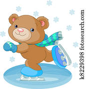 Cute bear on ice skates