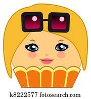 Cute Cupcake Cartoon Couture Blonde