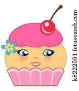 Cute Cupcake Cartoon Couture Pink