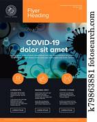 Flyer newsletter cover template with coronavirus information