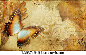 Vintage Butterfly Background.