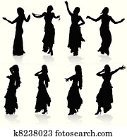 belly dancing black woman silhouette