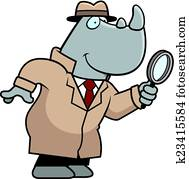 Cartoon Rhino Detective
