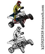 Coloring book ATV moto character