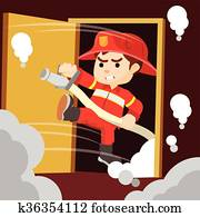 Firefighter sahed door