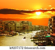 Grand Canal of Venice at Sunset