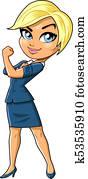 Successful Entrepreneur Female Business Woman Owner Real Estate Agent cartoon clipart vector