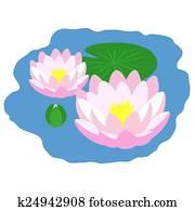 teich, mit, lilien