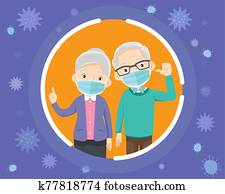 grandparents wearing a surgical mask.