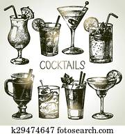 Hand drawn sketch set of alcoholic cocktails