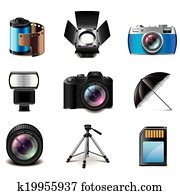 Photography equipment icons vector set