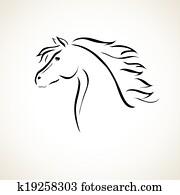 Stilizzato Disegno Di Uno Cavallo Clip Art K16398029