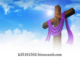 A cross with purple sash on clouds background
