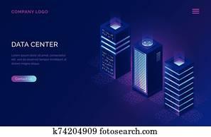 datum, zentrieren, isometrisch, concept,, server, gestelle, heiligenbilder