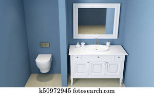 Modern bathroom. 3D rendering