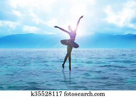 Silhouette illustration of a ballerina dancing on water