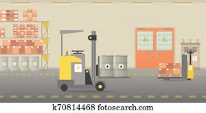 Vector warehouse hangar interior empty scene in flat style