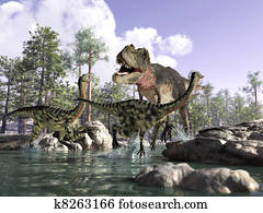 Photorealistic 3 D scene of a Tyrannosaurus Rex, hunting two Gallimimus, running in a river with rocks and trees in the background. Depth of field.