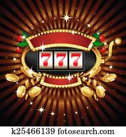 Slot machine on shiny background