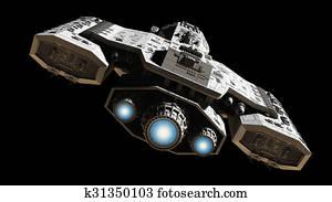 Spaceship with Blue Engine Glow