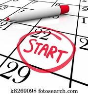 Start Word Calendar Starting Day Circled Date Marker