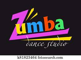 Text Zumba, card on black background card on black