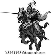 tjostieren, ritter, maskottchen, auf, pferd