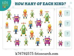 wie, viele, von, jedes, art, karikatur, roboter, z?hlen, spiel, für, kinder, vektor, abbildung