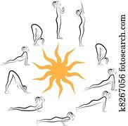 yoga sun salutation, vector