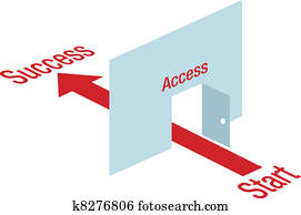 Access path arrow through door way to Success