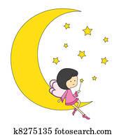 Fairy sitting on the moon