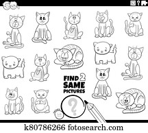 find two same cats game coloring book page