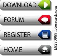 Vector buttons - download, forum, register, home
