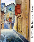 Watercolor of the old street